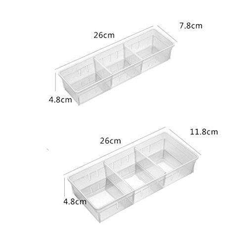 10.24 Inch Length Flatware and Junks Chris.W Desk Drawer Organizer Tray with Adjustable Dividers Multi-Drawers for Makeups 2 Large + 2 Small Utensil Set of 4 Pens