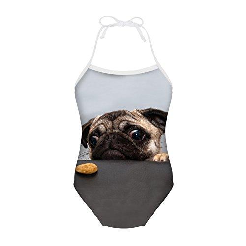 Showudesigns Swimsuit One Piece Baby Girls Learn-to-Swim Bikini Pug Dog Gray