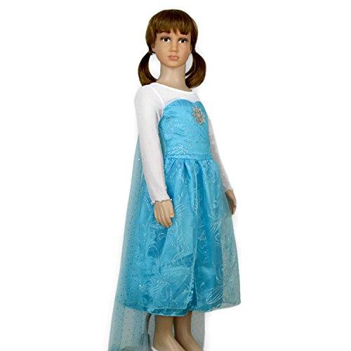 Queen Fancy Dress Dancing Costume (Rush Dance Snow Princess Queen Elsa Snowflake Dress Costume Cosplay (5T-6T,)