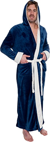 Ross Michaels Mens Hooded Long Robe - Full Length Big & Tall Bathrobe (Navy & White, S/M)