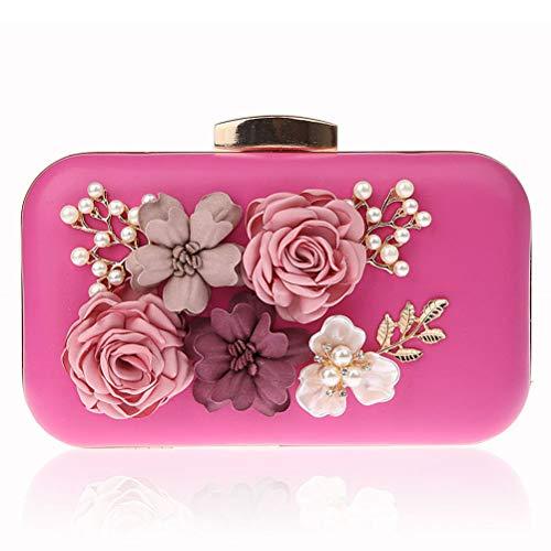 Gshe Bag Pochette Di Fiori Coreani Per Le Donne Borse Da Sera Borsa Per Abiti Per Banchetti Di Nozze,Pink rose