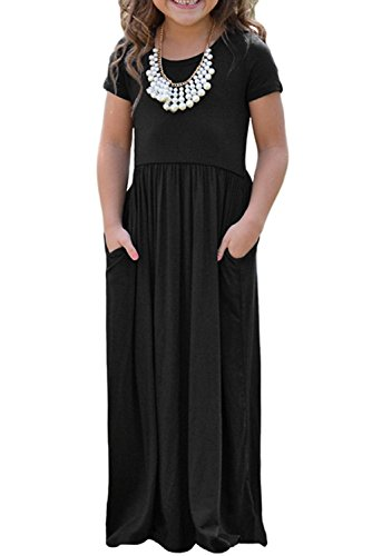 KIDVOVOU Girls Short Sleeve Round Neck Casual Long Maxi Dress Size 4-13,Black,8-9years ()