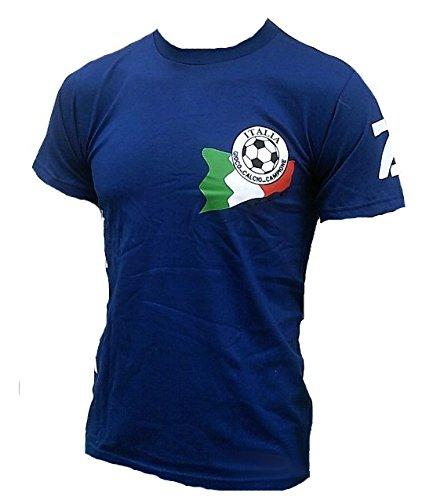 Ticila Men T-Shirt Blue Italia Italy Forza Squadra Azzurra Azzurri Football WM EM Soccer Fan Jersey L