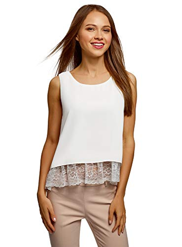 oodji Ultra Women's Top with Bottom Lace Detail, White, 6