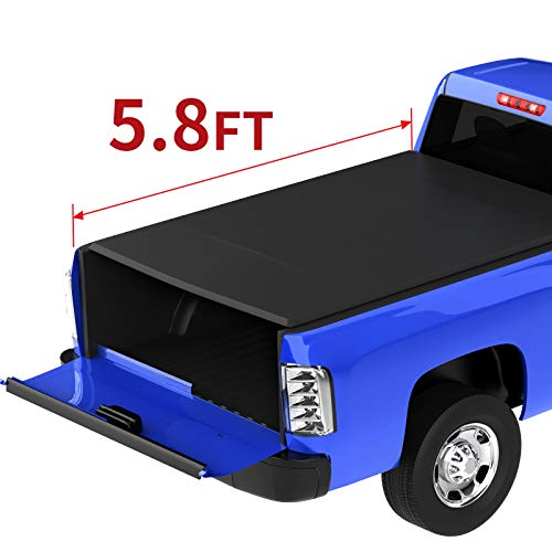 oEdRo Roll Up Truck Bed Tonneau Cover Compatible with 2014-2019 Chevy Silverado/GMC Sierra 1500 (2019 Only Classic or Legendary ONLY); 2015-2018 Silverado Sierra 2500 3500| Fleetside 5.8 Feet Bed