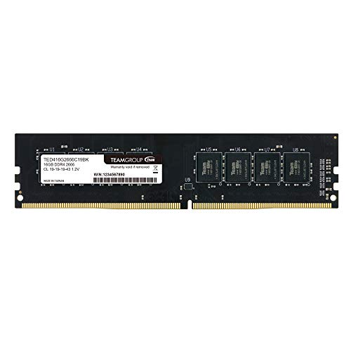 TEAMGROUP Elite DDR4 16GB Single (1 x 16GB) 3200MHz (PC4-25600) CL22 Unbuffered Non-ECC 1.2V UDIMM 288 Pin PC Computer Desktop Memory Module Ram Upgrade - TED416G3200C2201