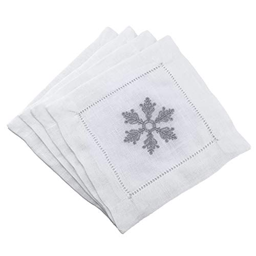 (Sferra Frost Snowflake Embroidered Cocktail Napkins (6