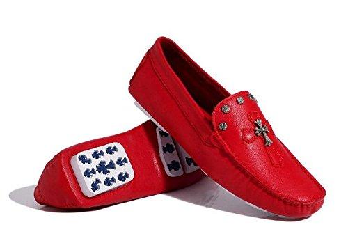 Happyshop (tm) Mens Mocassini In Pelle Incrociata Mocassini Uomini Piatti Scarpe Da Auto Sneakers Pieghevoli Rosse (stile B)