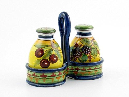 (Hand Painted Italian Ceramic Salt & Pepper Shakers Set Campagna - Handmade in Montelupo, Tuscany)