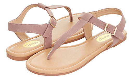 - Floopi Womens Summer Flat Sandals T-Strap Thong Buckle Ankle Strap Sandal (6, Pink-509)