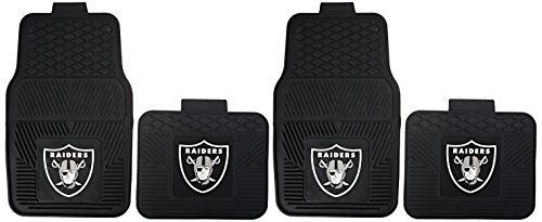NFL Oakland Raiders Car Floor Mats Heavy Duty 4-Piece Vinyl - Front and Rear