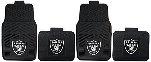 NFL Oakland Raiders Car Floor Mats Heavy Duty 4-Piece Vinyl - Front and Rear ()