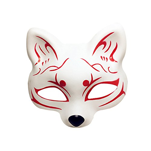 YangYong Fox Cosplay Mask For Party Masquerade Ball Kabuki Kitsune Costume Masks (Durable PVC (D)