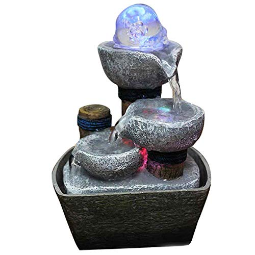 - Tabletop Fountain, Zen Water Fountain Three Tier Indoor Water Lily Water Fountain Relaxation Fountain Desk Water Fountain (Grey Stones)