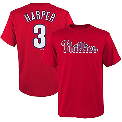 Outerstuff Bryce Harper Philadelphia Phillies MLB Majestic Youth Player Name & Number T-Shirt -Large 14-16