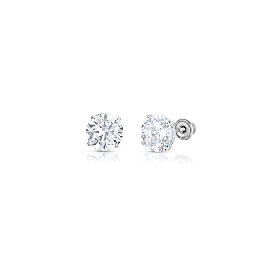 14k White Gold Solitaire Round Cubic Zirconia CZ Stud Earrings in Secure Screw backs