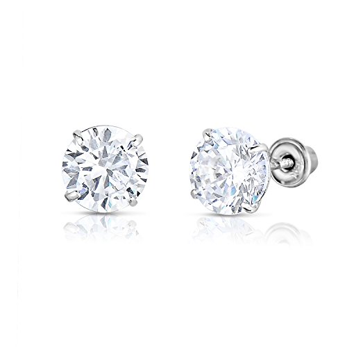 14k Gold Birthstone Stud Earrings - 14k White Gold Solitaire Round Cubic Zirconia CZ Stud Earrings in Secure Screw-backs (5mm)