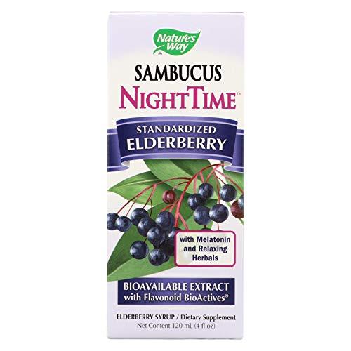 Natures Way Sambucus - NightTime - no Added Sugar - Vegetarian - 4 Ounce