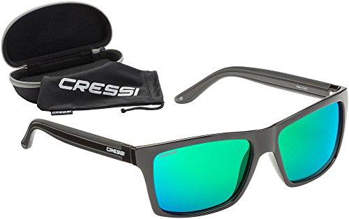 Cressi Rocker - Lunettes de Soleil Polarisées pour Homme - 100% Anti-UV avec étui Rigide - Noir/Lentilles Mirroir Rouge 11ZRjA