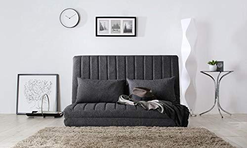 ハイバック&リクライニング機能付き ソファーベッド セミダブル/折りたたみ 合皮 レザー ファブリック 布地 コンパクト おしゃれ 安い 寝心地 2人掛け ハイバック PVC (グレー) B07PWTWJWW グレー
