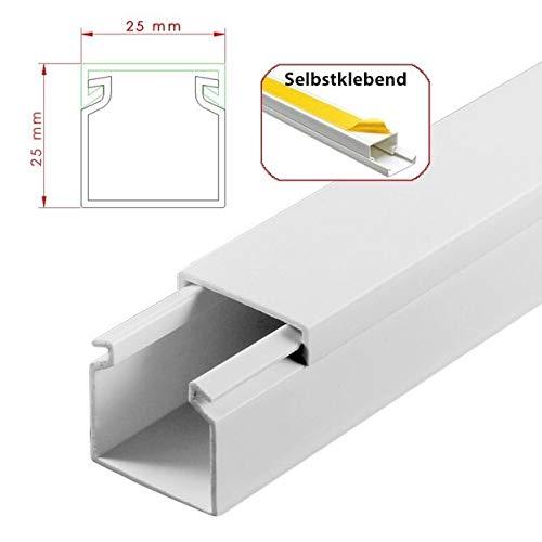 StilBest® 40m Kabelkanal [L x B x H H H 200x2,5x2,5 cm, PVC, Selbstklebend, weiß] Kabeldurchführungssystem   Kabelleiste   Kabelschlauch   Kabelrohr B07PRKZW6K | Elegantes Aussehen  90ea92