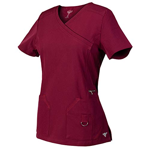 Medgear Superflex Mock-Wrap Activewear Scrubs Top Dobby 4-Way Stretch (M, Burgundy) ()