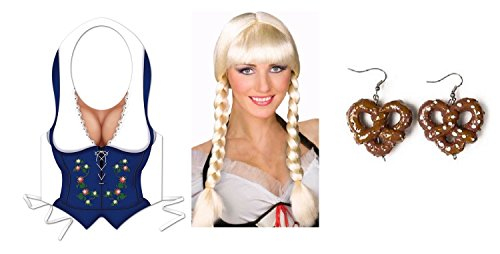 Nicky Bigs Novelties German Girl Fraulein Vest Braided Wig Pretzel Earrings Oktoberfest Costume Kit -