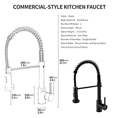 Morotel Commercial Single Handle Kitchen Sink Faucets Black Plating Spring Sprayer Kitchen Faucet
