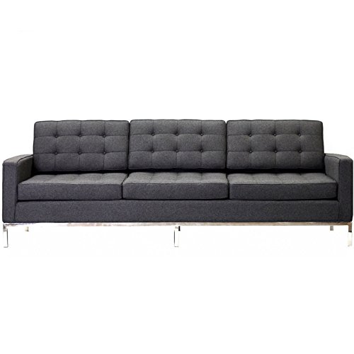 Modway Loft Wool Sofa in Dark Gray