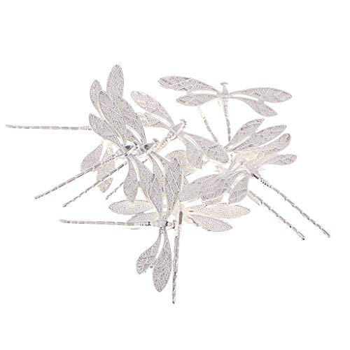 Gorgeous Dragonfly Pin - kesoto 10 Pieces Dragonfly Shape Alloy Hairpin Hair Clips Accessories, Hair DIY Accessory, Brooches DIY Making - Silver
