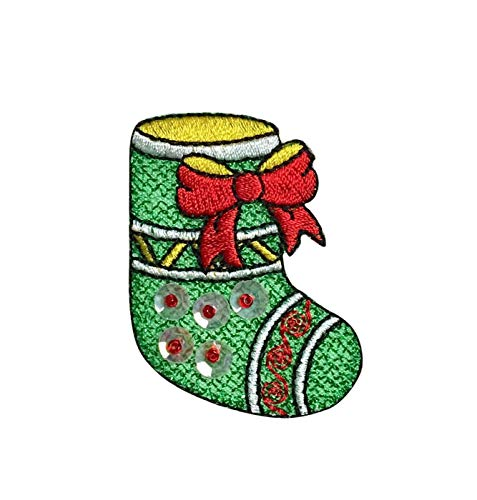 Christmas Stocking - Green Shimmery - Sequins - Iron on Applique/Embroidered Patch