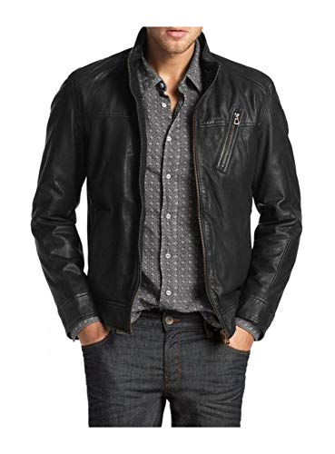 Laverapelle Men's Genuine Lambskin Leather Jacket (Black, Large, Polyester Lining) - 1501210 from Laverapelle