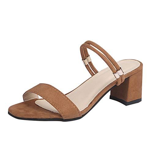 Sandales Femme Talon Frestepvie Pied Plates Mode Marron Sabots été Chaussons Plage Chaussure Mule UqESStwY