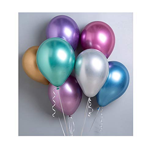 Party Balloons 50 Pcs 12 inch Metallic Balloons Latex Birthday Balloons Helium Shiny Balloons Thick Chrome Balloons for Wedding Birthday Baby Shower Christmas Party Decoration- Metallic Multicolor ()