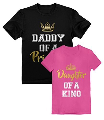 Father & Daughter Matching Set Daddy and Me Outfit Dad & Toddler Girl T-Shirts Daddy Black Small/Daughter Wow Pink 4T