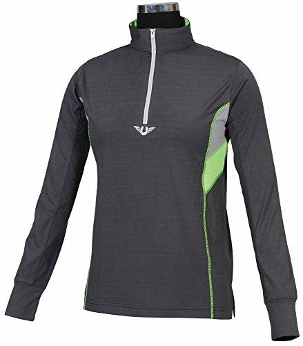 TuffRider Women's Neon Ventilated Mock Zip Long Sleeve Sport Shirt | Women Horse Riding Polo Shirt - Charcoal/NeonGreen - Size Small
