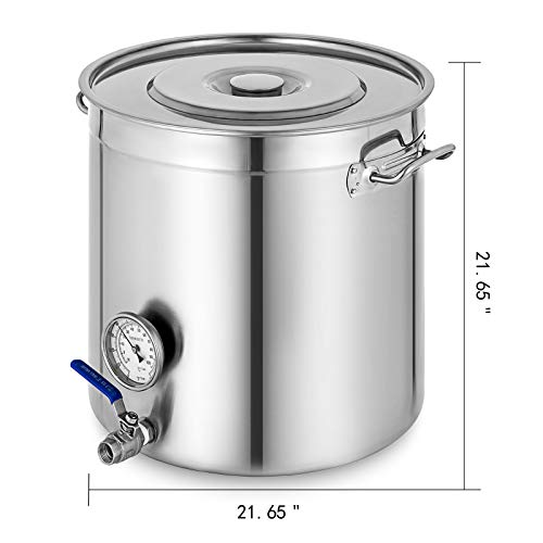 Mophorn Kettle Stockpot Stainless Steel 34Gal with Lid & Thermometer for Home Brew and Stock Pot Cookware 135 Quart With