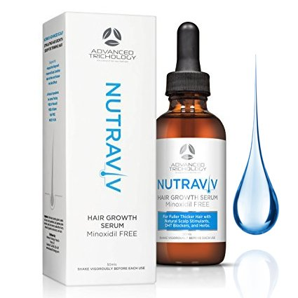 NutraViv Hair Growth Serum - Powerful Hair Loss Treatments for Thicker Fuller Hair for Men and Women including Regrowth and Scalp Health - Guaranteed Results - Hair Thickening Products 4-6 Week Supply (Best Hair Loss For Men)