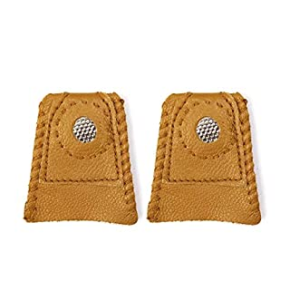 D&D 2-Pack Leather Coin Thimble Finger Protector for Quilting Craft Tool Sewing Pin Needles Partner Needlework Accessory