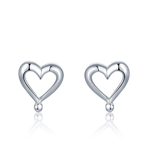 MBLife 925 Sterling Silver Polished Finish Open Heart Stud Earrings (Earrings Polished Open Heart)