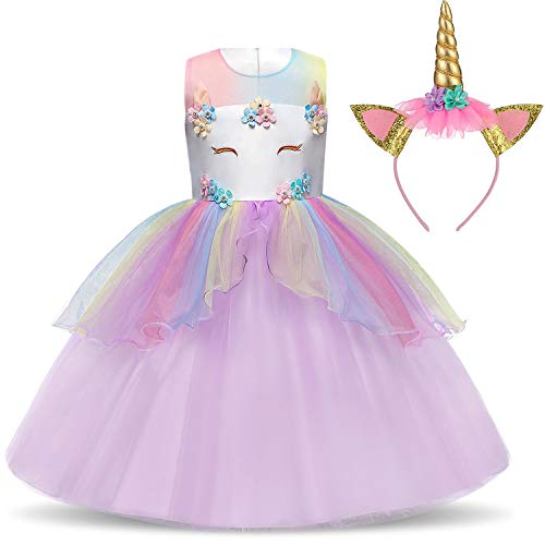 TTYAOVO Flower Girls Unicorn Costume Dress Girl Princess Pageant Party Dress 4-5 Years Purple
