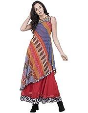 Sabhyata Women Designer Straight Kurta Kurti top Tunic 3/4 Sleeves Printed Solid.
