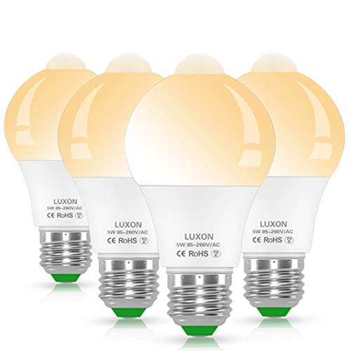 Motion Sensor Light Bulb 5W Smart LED Bulbs PIR Detector Lamp Dusk to Dawn Night Lights E26 Base Indoor Outdoor Light Bulbs Soft White 2700K for Wall Lighting Garage Porch Stairs Hallway Pack of 4