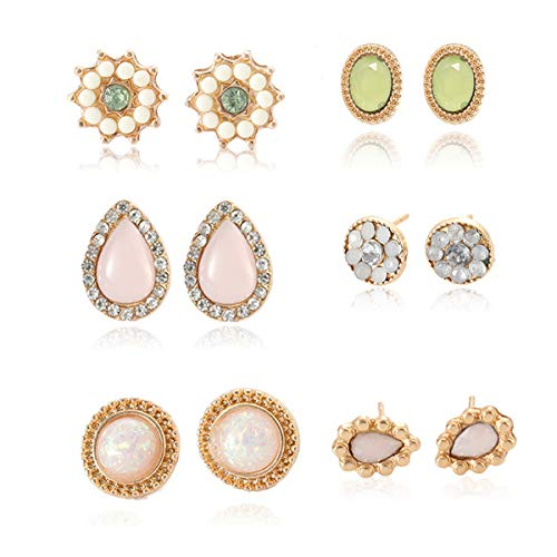 Drop Dangle Earrings Statement Ruby Topaz Stud Earring Fashion Lightweight Jewelry Gift for Women Girls Party and Daily Wear, 6 Pairs Pink Green and Yellow