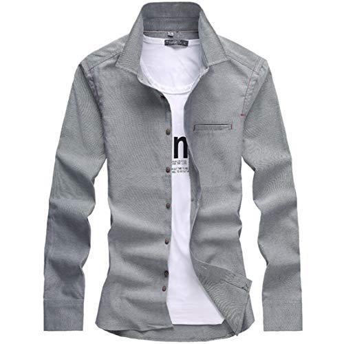 折り目層オデュッセウスカジュアルシャツ 長袖 メンズ 無地 オックスシャツ 綿 ボタンダウン 折り襟 トップス