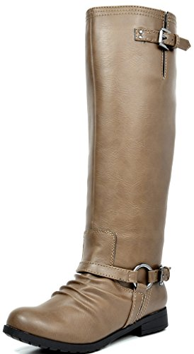 (TOETOS Women's ARIAZ Taupe Knee High Riding Boots - 7 M US)