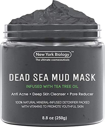 New York Biology Dead Sea Mud Mask Infused with Tea Tree - 100% Natural Spa Quality - Pore Reducer to Help with Acne, Blackheads and Oily Skin Tightens Skin for A Healthier Complexion - 8.8 oz (The Body Shop Tea Tree Clay Mask)