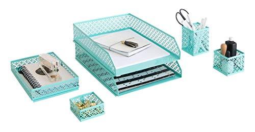Blu Monaco - Juego de 6 organizadores de escritorio para mujer, 3 bandejas de accesorios surtidas, 2 bandejas de letras, decoracion de habitacion para mujeres y adolescentes