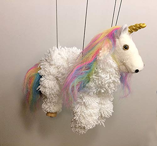 White Unicorn with Rainbow Mane Yarn Pom-Pom Marionette