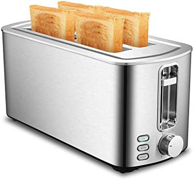 Long 4 Slice Toaster Stainless Steel Toaster with 6 Shade Setting Bread Toaster with Bagel Defrost Cancel Function Removable Crumb Tray
